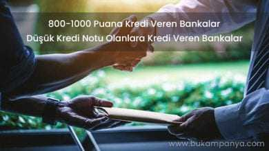 800 1000 Puana Kredi Veren Bankalar [ANINDA ONAYLI]